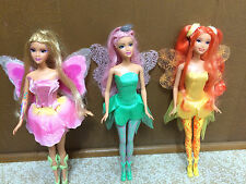 Barbie Fairytopia Elina Light Up Fairy Rooted Eyelash Dandelion Dahlia Doll Lot