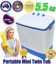 WASH BIN Portable MINI WASHING MACHINE TWIN TUB W dryer Caravan Camping 5.5 KG