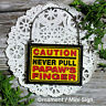 DECO Mini Sign Caution Never Pull Papaw 's Finger Wood Ornament Gag Gift Decor