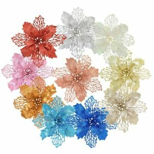 Glitter Artificial Flowers Christmas Tree Decor for Home New Year Wedding Party