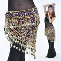 New Belly Dance Hip Scarf Luxury Coins Sequins Waist Chain Skirt Belt Costume