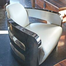 """Set of two 30"""" W arm chair soft white top grain leather stainless steel frame"""