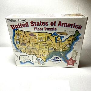 Melissa and Doug Large Educational Floor Puzzle Map of U.S.A 48 pieces 2' x 3'