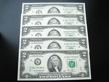 (5) $2 2013 ((K DALLAS CONSECUTIVE#))FEDERAL RESERVE CHOICE UNC GEM BU NOTE