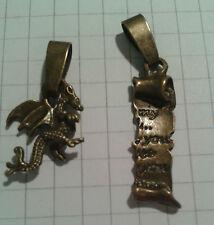 """Tibetano in Lega Oro Antico PLT""""2 Ciondoli Drago Gallese + scorrimento per ciondoli o Lob."""
