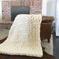 CHUNKY KNIT BLANKET, CHUNKY KNIT THROW, MERINO WOOL BLANKET