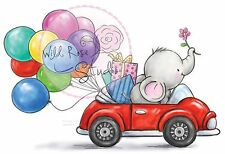 Elephant Bela Car Balloons Unmounted Rubber Stamp Wild Rose Studio # CL449 New