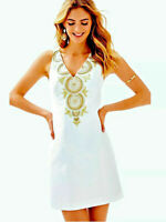 NWT Lilly Pulitzer GABBY SHIFT DRESS Resort White Beaded Embroidered Gold Sz 10