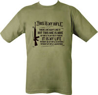 Military Printed THIS IS MY RIFLE T Shirt Olive Green