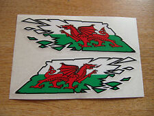 """Welsh Dragon Flag """"ripped"""" style stickers - LARGE 300mm decals x2  - Wales"""