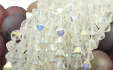 50 Crystal AB Bicone Czech Glass Beads 6MM