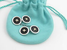 Tiffany & Co RARE 18K Silver Button Onyx Cufflink Cufflinks Cuff Links Cuff Link