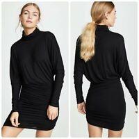 NEW Veronica Beard Manda Dress Black Ruched Gathered Turtleneck Jersey Small