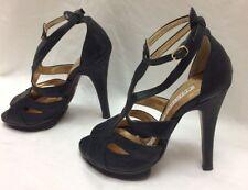 Womens Petite Shoes Black leather stiletto heels, peep toe Sz 3M /EU33 MSRP $200