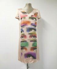 Nuevo Vestido Moschino Cheap & Chic Satén Rosa, gráficos de ojos longitud media IT40 36 UK8