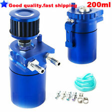 Universal 200ml Baffled Oil Catch Can Reservoir Tank + Breather Filter (Blue)