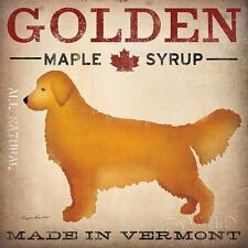 GOLDEN RETRIEVER DOG MAPLE SYRUP PRINT RETRO ADVERTISING POSTER Made in Vermont