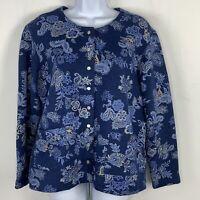 Classic Elements Petite Womens Sweatshirt Sz LP Blue Floral Snap Front ZZ49