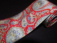 Robert Talbott Tie Red Blue Paisley Printed Grady Ervin Long Silk Luxury Necktie
