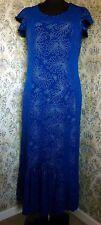 Regency blue party dress by KIM & CO Size 14 Tiny beaded semi floral pattern