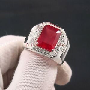Natural Ruby Gemstone with 925 Sterling Silver Ring for Men's #5344