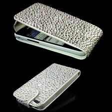 LUXUS f Samsung Galaxy S3 Mini i8190 Strass Flip Tasche Bling Case Silber