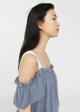 Brand New Mango Gingham Off the Shoulder Top Blue Size S