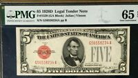 1928D $5 PMG65 EPQ GEM UNCIRCULATED US LEGAL TENDER NOTE JULIAN/VINSON RED SEAL