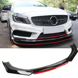 For Mercedes-Benz Front Bumper Lip Spoiler Splitter Body Kit Glossy Black + Red