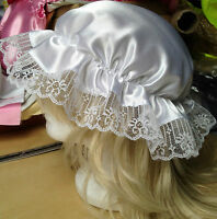 victorian  mop cap adult baby fancy dress satin bonnet cap hat white sissy maid