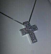 Collana oro Bianco 750 18 kt e croce con diamanti in oro 750 18 kt ct 0.86 G VVS