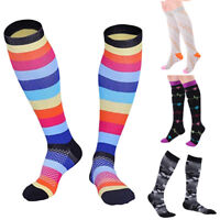 FT- Women Sports Colorful Stripe Athletic Compression Socks Long Stockings Nove