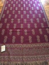 VINTAGE 1980S LARGE LADIES WRAP SHAWL OR THROW RUG JEEVAN INDIA WOOL BURGUNDY
