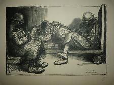 """STEINLEN (1859/1923) Litho WW1 - """" SUR LES QUAI DE LA GARE """"  - Signé"""