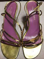 JILL Stuart leather Ladies 7 M SANDALS . Sequin Strap HEELS SHOES Italy.