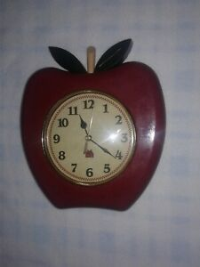 Quartz Apple Shaped Wall Clock Battery Operated, Tested Working 9 in by 7 in