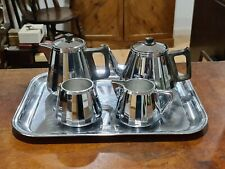More details for vintage art deco swan brand doric ware coffee tea set with chrome plated tray