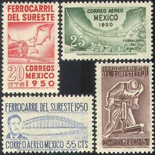 Mexico 1950 Railway/Trains/Locomotives/Rail/Bridge/Transport 4v set (n24405)
