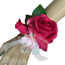Wrist Corsage - Artificial Rose in Fuchsia Pink with Sheer Ribbon Bow