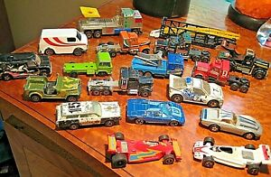 Vintage Lot of 18 Various Makers MatchBox Yatming & ETC Sport Cars Tractors More