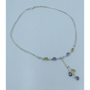 PETITE 925 Liquid Sterling Silver Multi Gemstone Amethyst Citrine Necklace