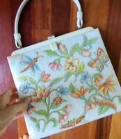Vintage 70s Leather Mushroom Butterfly Purse Bag Medium vtg 1970s