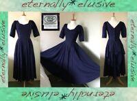 Vintage LAURA ASHLEY Navy Spot Victorian Vamp Bustle Full Circle Dress Size S 10