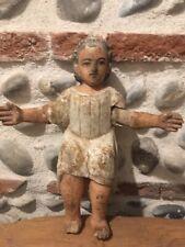 Très Beau Sujet De Crèche Petit Jesus En Bois Polychrome L 30cm Espagne XIXe
