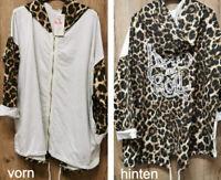 Damen Sweat Jacke Leo Muster Größe 40-44 passend Leopard Print, Made in Italy