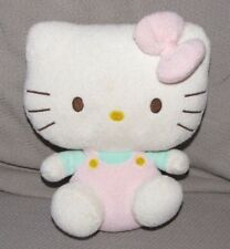 """TY 2011 HELLO KITTY STUFFED PLUSH BEANIE BABY PLUFFIES PINK OVERALLS BOW 8"""""""