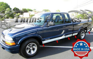 """1994-2003 Chevy S-10 Extended Cab 3Dr Rocker Panel Trim Side Molding 5 1/4"""" 11Pc"""