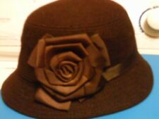 Women's felt hat with decorative ribbon rose on side chose from brown or black
