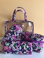 NWT Vera Bradley Makeup Cosmetic 4 Piece  Travel Bags case In FLOWER GARDEN