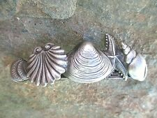 Shell Silver Plated French Clip Hair Barrette 60MM Clip Made in USA 6048S